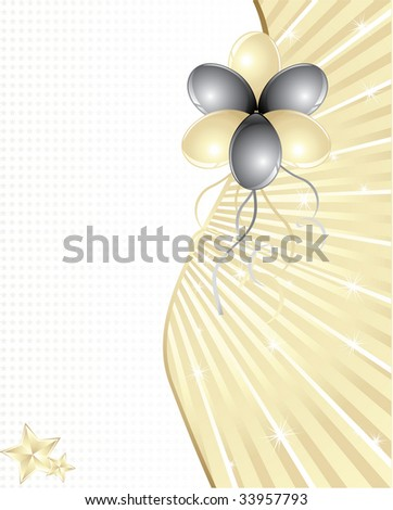 Gold and black balloons with space for text - stock photo