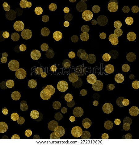 Gold and Black Dots Faux Foil Metallic Background Pattern Texture - stock photo