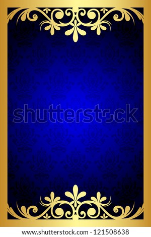 Gold and blue floral frame - stock photo