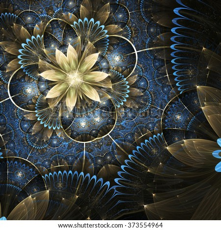 Gold and blue fractal flower, digital artwork for creative graphic design