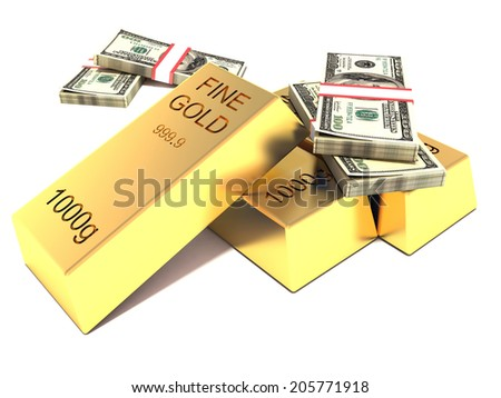 gold and foreign exchange reserve. gold bars and dollars