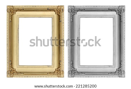 Gold and Gray picture frame on white background. - stock photo