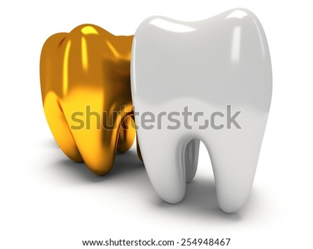 Gold and healthy teeth isolated on white background. 3D render. Dental, medicine, health, out of crowd concept.