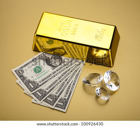Gold and money, diamond