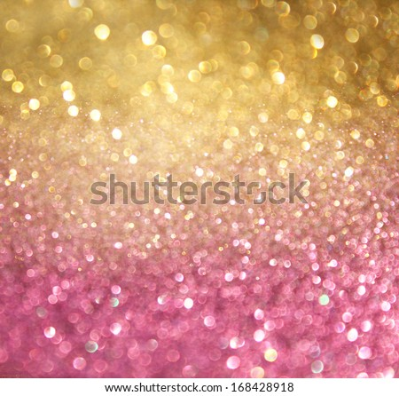 gold and pink abstract  bokeh lights. defocused background  - stock photo