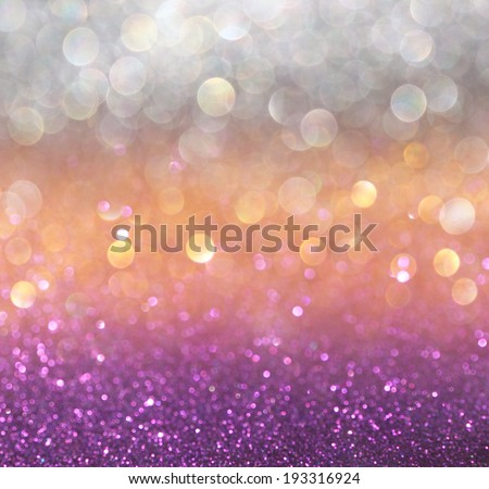 gold and purple abstract bokeh lights. defocused background  - stock photo