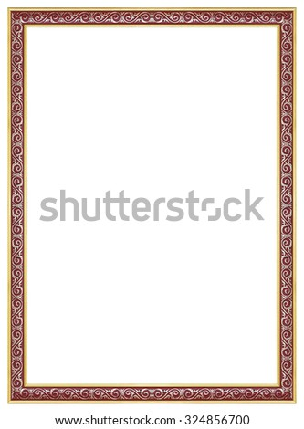 Gold and red frame isolated decorative carved wood stand, Gold and red frame isolated on white background - stock photo