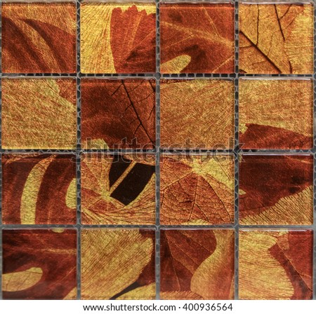 gold and red pattern  mosaic tile. seamless texture - stock photo
