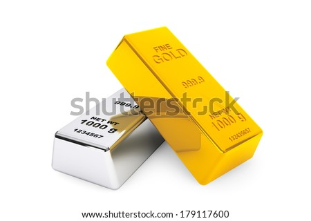 Gold and silver bars on a white background - stock photo