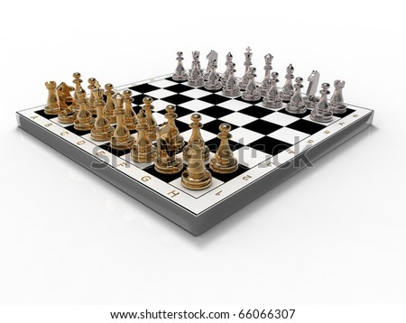 Gold and silver chess on a white background