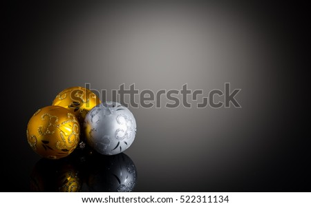 Gold And Silver Christmas Decoration On Black