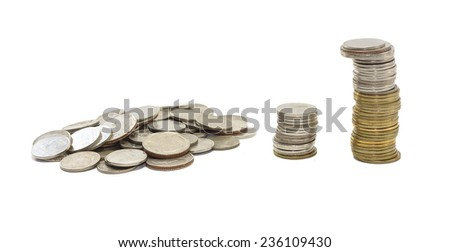 gold and silver coins thailand isolated on white background