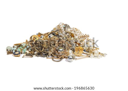 Gold and silver jewellery  - stock photo