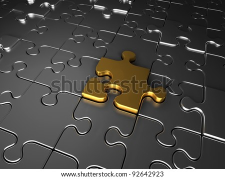 Gold and silver jigsaw puzzle pieces - stock photo