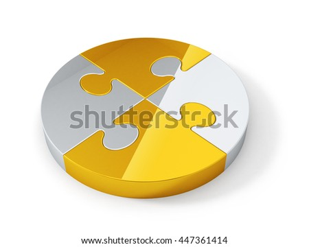 Gold and silver jigsaw puzzle pieces connected in the whole. Abstract teamwork concept 3D rendering image.  - stock photo