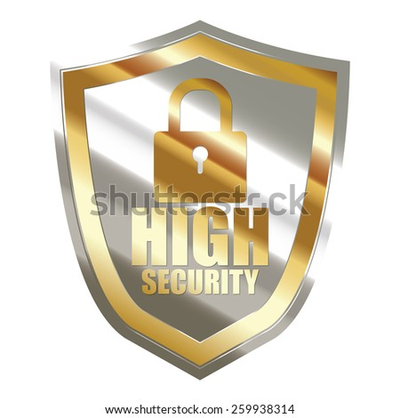 gold and silver metallic high security badge, shield, sticker, sign, stamp, icon, label isolated on white - stock photo