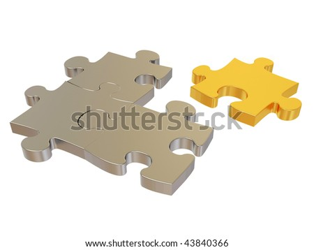 gold and silver puzzle on white - stock photo