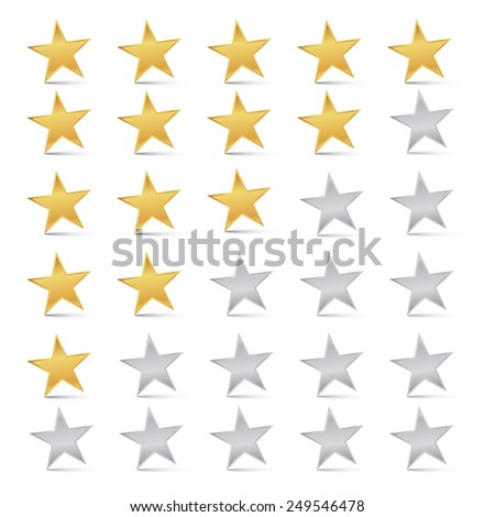 Gold and Silver Stars Set - Rating Symbols