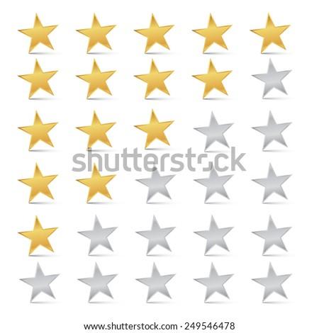 Gold and Silver Stars Set - Rating Symbols - stock photo