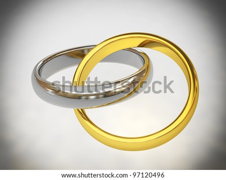 gold and silver wedding rings 3d - stock photo