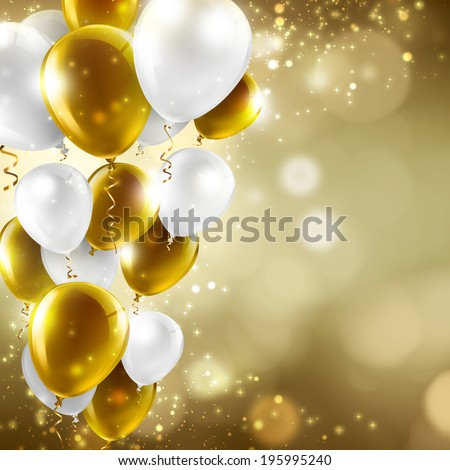 gold and white balloons on abstract blurred lights - festive background - stock photo