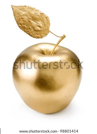 Gold apple isolated on white background. - stock photo