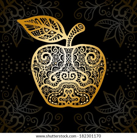 Gold Apple. Vintage Card with damask background, luxury golden white and black design, stylized abstract seamless lace pattern, raster version - stock photo