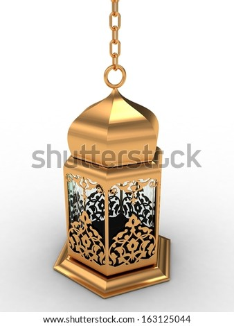 Gold Arabic Lantern - stock photo
