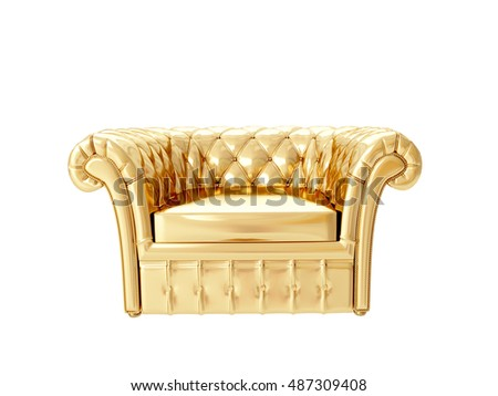 Gold Armchair. 3D Rendering