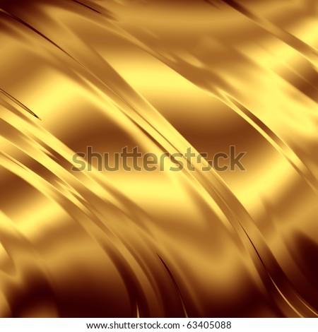 Gold artistic drapery backdrop - stock photo