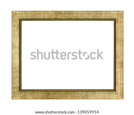 Gold arts pattern picture frame isolated on white with clipping path - stock photo
