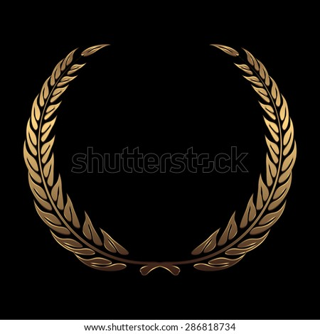 gold award wreaths, laurel on black background illustration - stock photo