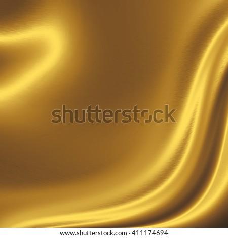 gold background metal texture wavy curtain shape - stock photo
