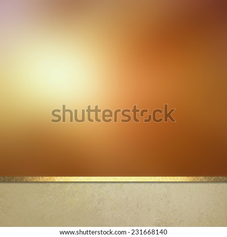 gold background website or poster layout, fancy elegant blurred sun in the sky on off white vintage textured footer with gold ribbon trim, burnished gold design, luxury background template