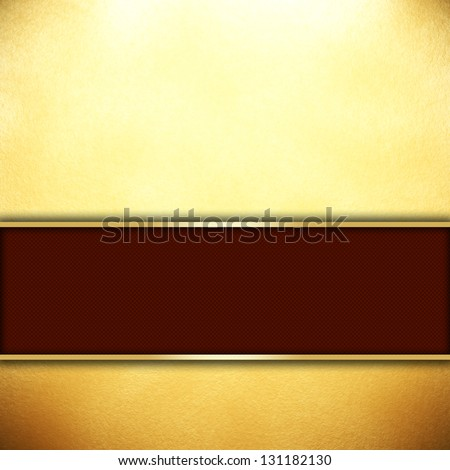 Gold background with a red ribbon - stock photo