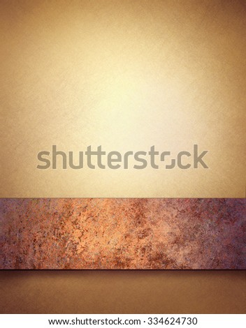 gold background with copper brown title stripe and vintage texture - stock photo