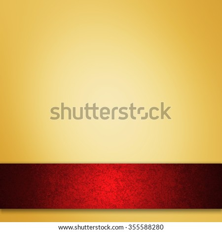 gold background with red ribbon - stock photo
