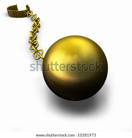 Gold Ball and Heart Chain - stock photo