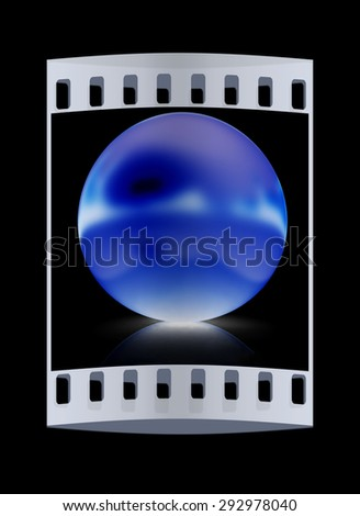 Gold Ball on a black background. The film strip - stock photo