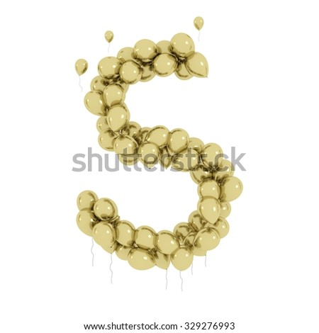 Gold Balloon Letter S 3d font s