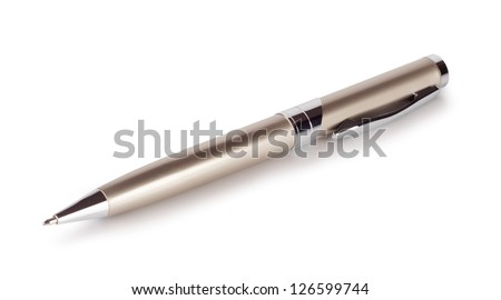 Gold ballpoint pen isolated on white background