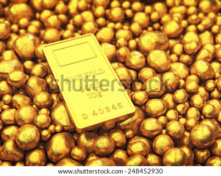 Gold bar and pellets , Safe investment - stock photo