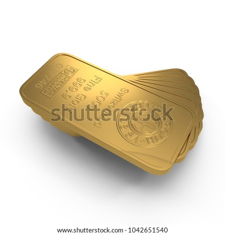 gold bar 500g isolated on white. 3D illustration