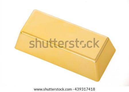 gold bar isolated on white background - stock photo