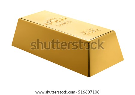 Gold bar isolated on white background. Gold bullion.
