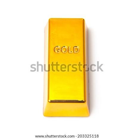 Gold bar or ingot isolated on a white studio background. - stock photo