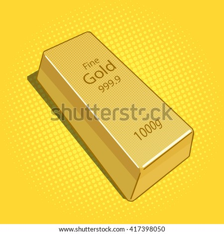 Gold bar pop art raster illustration. Vintage retro style.