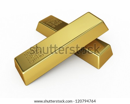 Gold Bar render (isolated on white and clipping path)