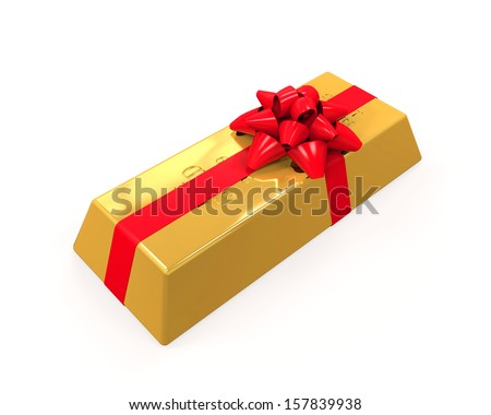 Gold Bar with Red Ribbon - stock photo