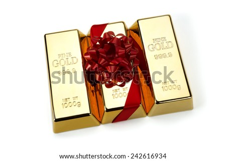Gold Bar with Red Ribbon, studio shots - stock photo